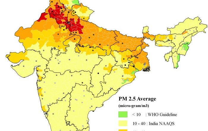 indian air pollution map graph